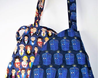 Dr. Who Quilted Tote Bag,It's inside is bigger then it's outside,Tardis Quilted Inside/Out,Multiple Pockets,Key Clip,Vera Bradley Like OOAK