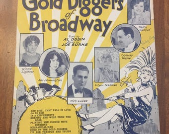 Vintage Sheet Music / 1929 Tip Toe Through The Tulips With Me / The Gold Diggers of Broadway / Warner Bros. Talking Picture / old paper