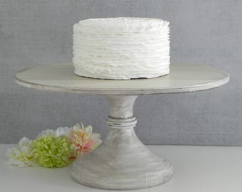 "SHIPS NOW 18"" Cake Stand French Country Gray Wedding Cake Stand Rustic Vintage Wedding E.Isabella Designs Featured In Martha Stewart Wedding"