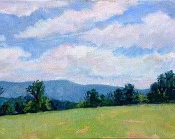 Summer Fields, Berkshires in June. Realist Oil Painting Landscape, 10x20 inch Plein Air Impressionism on Panel, Signed Original Fine Art