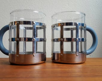MUGS - Vintage Pair of Alessi Stainless Steel Heat Resistant Mugs