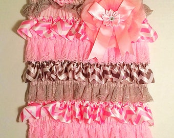 Lacy Ruffled Romper/ Headband Set Pink Silver Size 9-12 mths