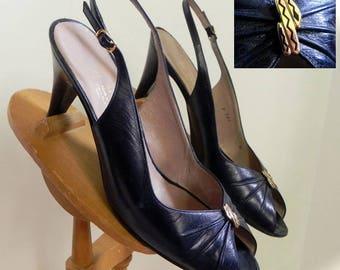 Vintage Navy Peep Toe Shoes , Bruno Magli Leather Slingback Heels Shoes with SNAKE Embleshment 8 - on sale