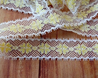 FREE SHIPPING Vintage Yellow and White Lace by the Yard