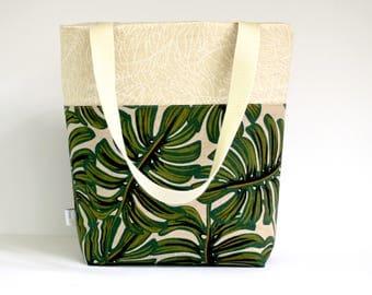 monstera tote bag, tropical print purse, market bag, plant tote bag, teacher tote bag, casual tote, rifle paper co tote bag, shoulder bag