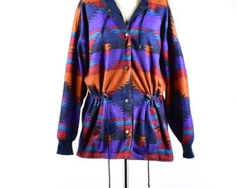 Reversible Hooded Southwestern Coat with Neck/Waist Adjustments