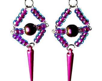 Purple Spiked Earrings, Beaded Earrings with Spikes, Fuchsia Earrings, Fuchsia Jewelry