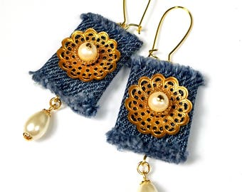 Repurposed Denim Earrings, Pearl Dangle Earrings, Flower, Upcycled Jewelry