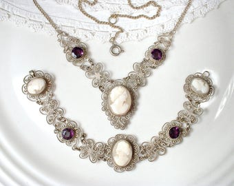 HOLD Antique Victorian Carved Shell Cameo Necklace, Edwardian Filigree 800 Silver Amethyst Rhinestone Statement Necklace, Vintage Wedding