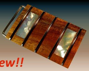 Koa Fretboard Belt Buckle - Mother of Pearl Block Inlays