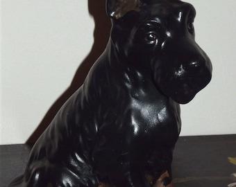 Vintage Black Scotty Dog Figurine Scottish Terrier Ceramic 8 1/2 inches scottie