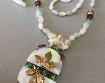 Repurposed MOP Abalone Pendant with Peridot Amethyst Baguette Rhinestones – Large and Unique