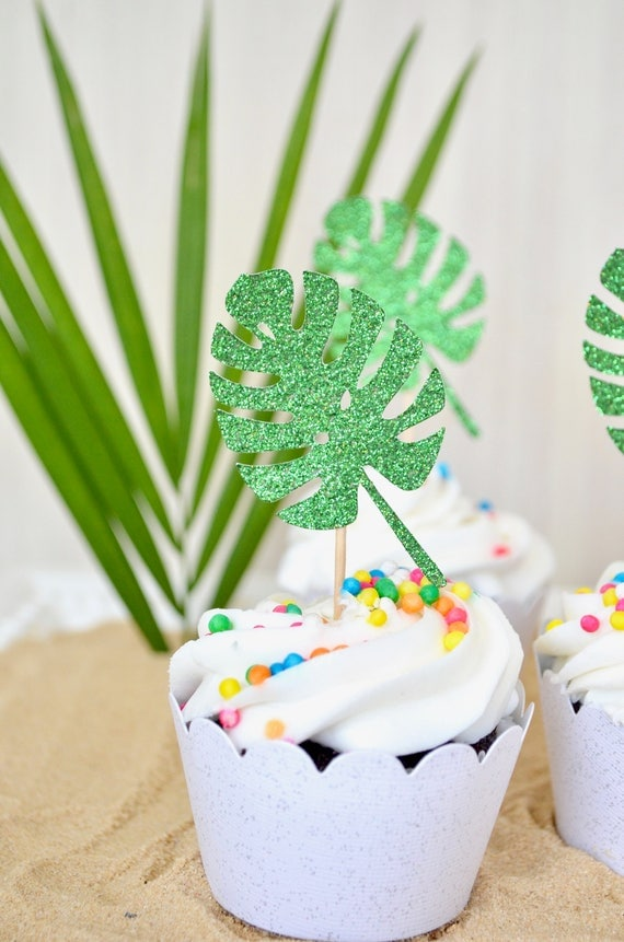Monstera Tropical Leaf Cupcake or Donut Toppers - Choose from quantities of 12, 24, 30, 36, 40, 50, 75, 100.