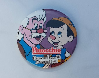 Pinocchio, Character Dining '93, Disneyland Hotel Pin Back Button, 3 Inches