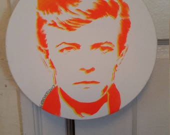 David Bowie round painting pop street art spray paint stencil pop art record store art Rainbow Alternative