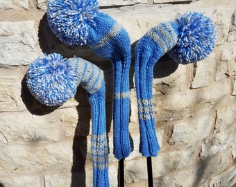 Retro Hand Knit Golf Club Head Covers Set of 3 Blue Gray and White with Pom Poms