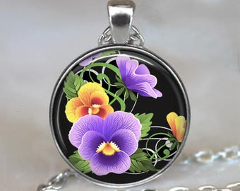 Prismatic Pansies necklace, pansy flower pendant gift for sorority sister sorority jewelry pansy pendant key chain key ring key fob