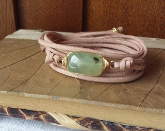 Genuine Prehnite Leather Wrap Bracelet Boho Style Faux Sueded Leather