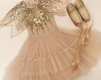 Flower girl Shoes Toddler Girl Shoes Baby Girl Shoes Soft Soled Shoes Wedding Shoes Champagne Champagne Glitter Shoes - Eloise