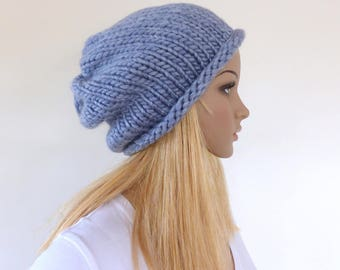 Blue slouchy hat Blue beanie hat Chunky Knit hat Womens hat