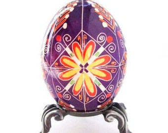 Purple egg Ukrainian pysanka batik decorated chicken egg shell ornament and gift idea for any occasion personalize for mom baby best friend