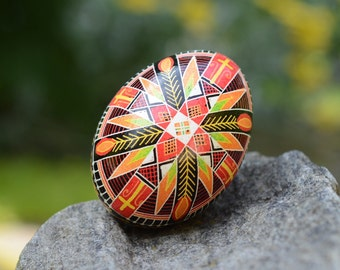 Traditional Vintage pattern Pysanka by Katya Trischuk egg ornament with cross amazing gift for special occasions and holidays
