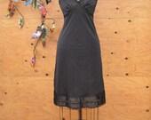 Vintage 50's Black Slip / Nightgown With Lace Detail SZ M