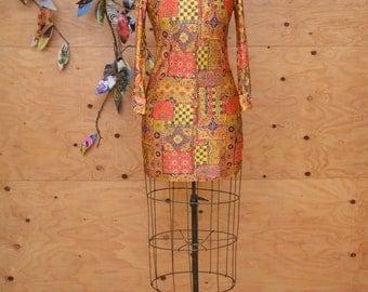 Vintage 60's Bohemian MOD Rocker Tunic Mini Dress With Orange & Green Patchwork Psychedelic Print Long Sleeves Size XS
