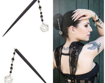 Gothic Black Wood Hair Stick w Black Onyx & Pentagram