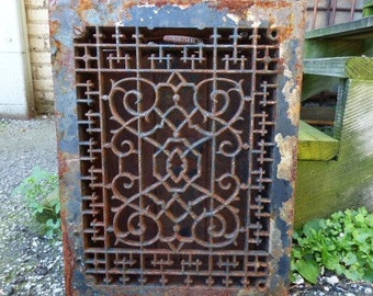Antique Metal Grate Floor Wall w/ Vents Architectural salvage Art Nouveau Gothic Cross Decorative 12 x 16