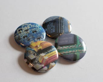 "Computer Part (Printed Graphics) Pinback Buttons - Set of 4 - 1"" / 25mm Diameter"