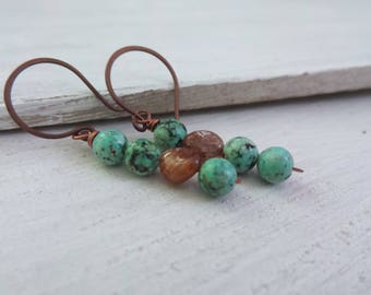 Jasper Earrings, Turquoise Jasper, Copper Quartz, Turquoise Earrings, Asymmetrical Earrings, Summer Earrings, Summer Outdoors, Boho Earrings