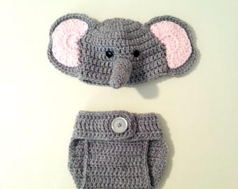 Elephant Newborn Outfit, Safari Baby Set, Photo Prop for Girls, Pink Elephant, Adjustable Diaper Cover, New Baby Gift