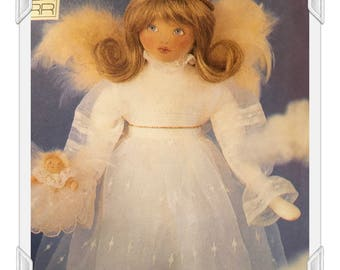 Angel Doll with baby - Vintage Vogue Craft Pattern Full Color Iron on Transfer- 1995 Pattern Designer Linda Carr - Gorgeous 27 inch Angel