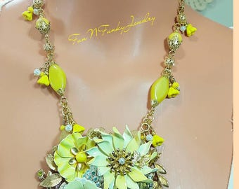 Sale - Jewelry Collage Necklace, matching earrings, yellow flowers, vintage