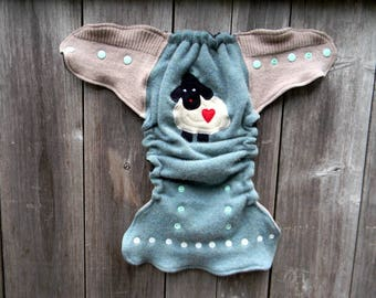 Upcycled Cashmere/ Merino Wool Nappy Cover Diaper Wrap Cloth Diaper Cover One Size Fits Most Sea Green/Oatmeal  With Baa Baa Sheep Applique