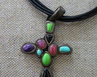 Beautiful Vintage Barse Sterling Silver and Natural Stones Cross Pendant Necklace