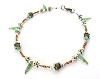 Bronze Anklet - Silver Anklet - Picasso Glass Daggers - Bronze Beads - Gold & Green Verdigris - Medium 10 Inch Anklet - Detailed Silver