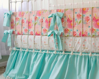 Aqua and Pink Pastels and Peonies Baby Girl Bedding Set featuring a Pom Pom Fringe Gather Skirt for a Unique, Stylish Nursery