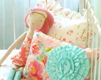 Pink and Aqua Pastels and Peonies Accent Pillows | Custom Throw Pillows for a Stylish Baby Girl Nursery | Crib Bedding Accessories