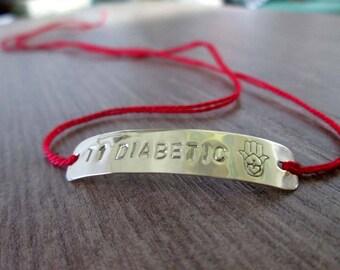 Medical Bracelet-Medical String id Bracelet-Diabetic Bracelet-T1 Diabetic Bracelet-DIABETES Medical Alert Bracelet-Custome Medical Jewelry