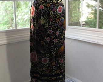 MILESTONE SALE 40% OFF, Vintage Long Black Skirtwith Flowers and Birds, Tropical Gypsy Boho, XLarge, XXLarge, 1X, Vintage Plus