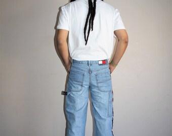 Vintage 90s Tommy Hilfiger Light Wash Denim Hip Hop Jeans - 1990s Tommy Denim Pants - 90s Clothing - MV0327