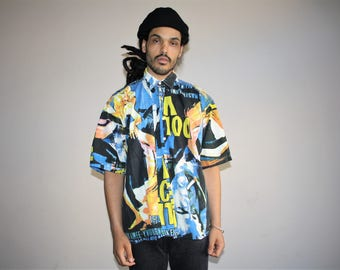 Graphic 90s  Short Sleeve Hip Hop Rap Fresh Prince 90s Men's Button Up Dress Shirt - MV0416