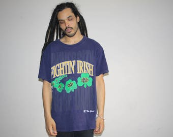The Fighting Irish Vintage 90s Notre Football T Shirt - 90s Clothing - MV0555