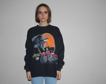1990s Vintage Harley Davidson Harley Country Eagle Sunset Biker Sweatshirt - 90s Clothing - WTTS-38