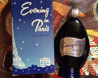 Vintage 1950s 1960s Evening In Paris Collectible Blue Full Bottle Of Cologne With Original Box (#1340) 2 OZ. Size Deadstock Never Used