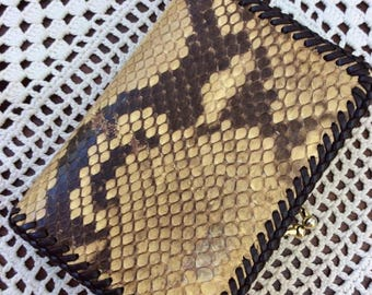 Vintage 1950s Wallet Coin Purse Combo Genuine Snakeskin & Leather