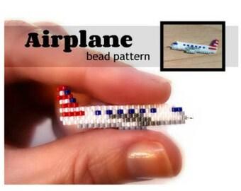 Brick Stitch Airplane Beading Pattern, Miyuki Delica Beads