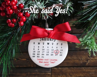 SHE SAID YES! ornament, engagement ornament, personalized christmas ornament, engagement date, typewriter, engagement gift, mr and mrs
